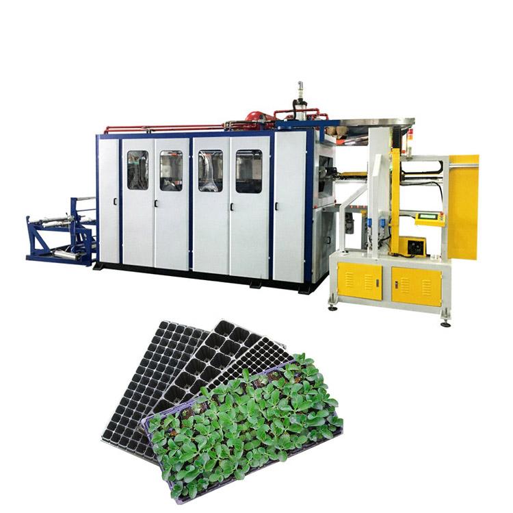 Precio de fábrica al por mayor de 21 28 32 50 72 98 105 200 agujeros cuadrado negro planta de plástico siembra creciente bandejas máquina de vacío