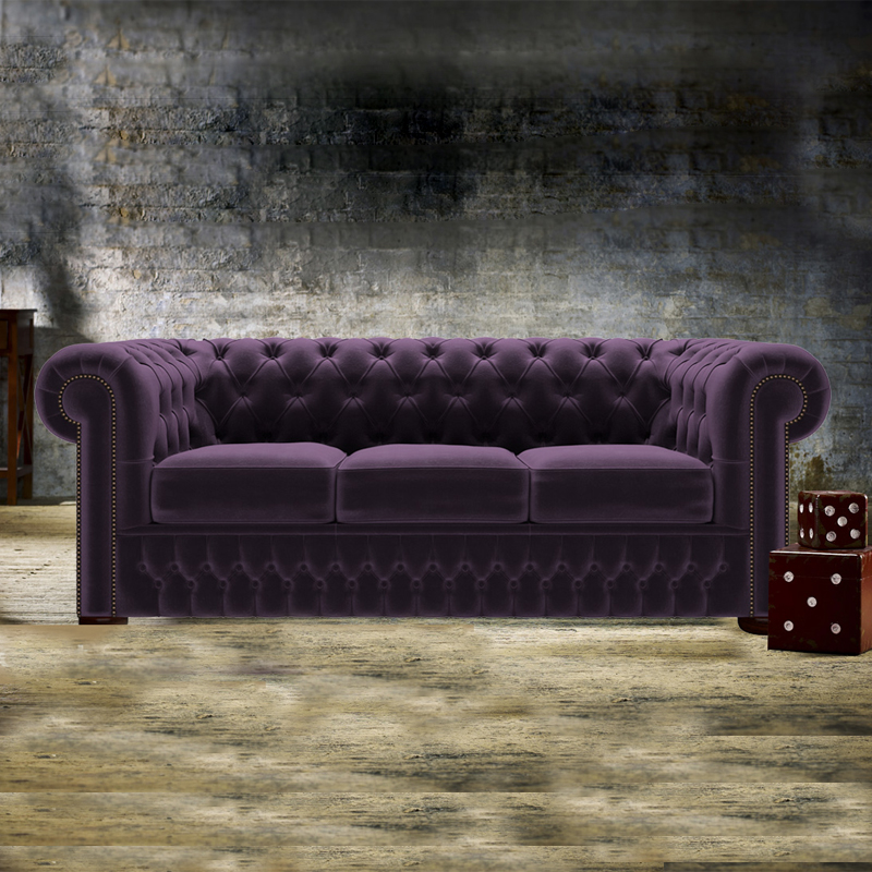 Púrpura profundo de marco de madera chesterfield 3 de asiento del sofá