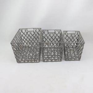 Stringa di carta cestino di immagazzinaggio pure manuale carta regalo corda cestino con struttura in ferro