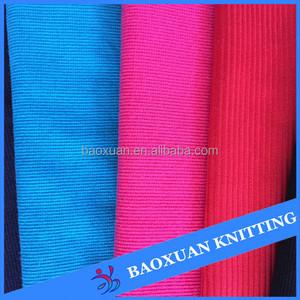 100% polyester extensible 2 voies tube côtelé 1x1 côtes tricot tissu