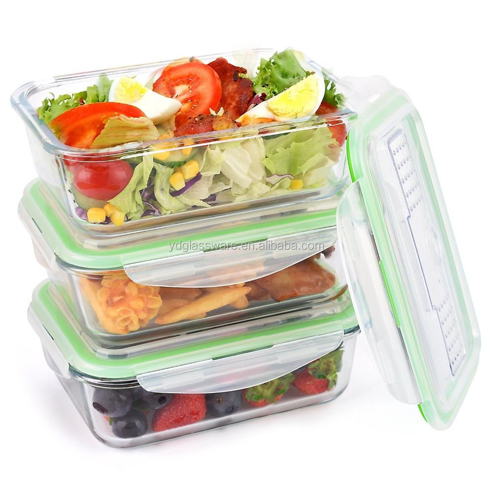 붕규산 유리 저장 식품 용기 Bento 점심 상자 플라스틱 뚜껑 넣어 포크와 스푼