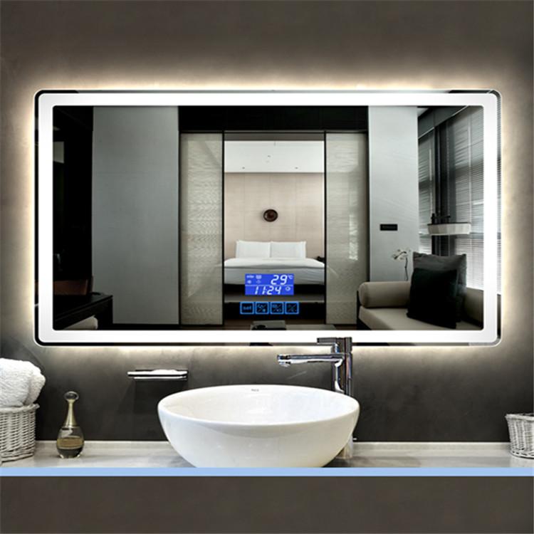 Anti-buée ETL hôtel éclairé sans cadre LED rétro-éclairé miroir de salle de bain avec tampon Anti-buée