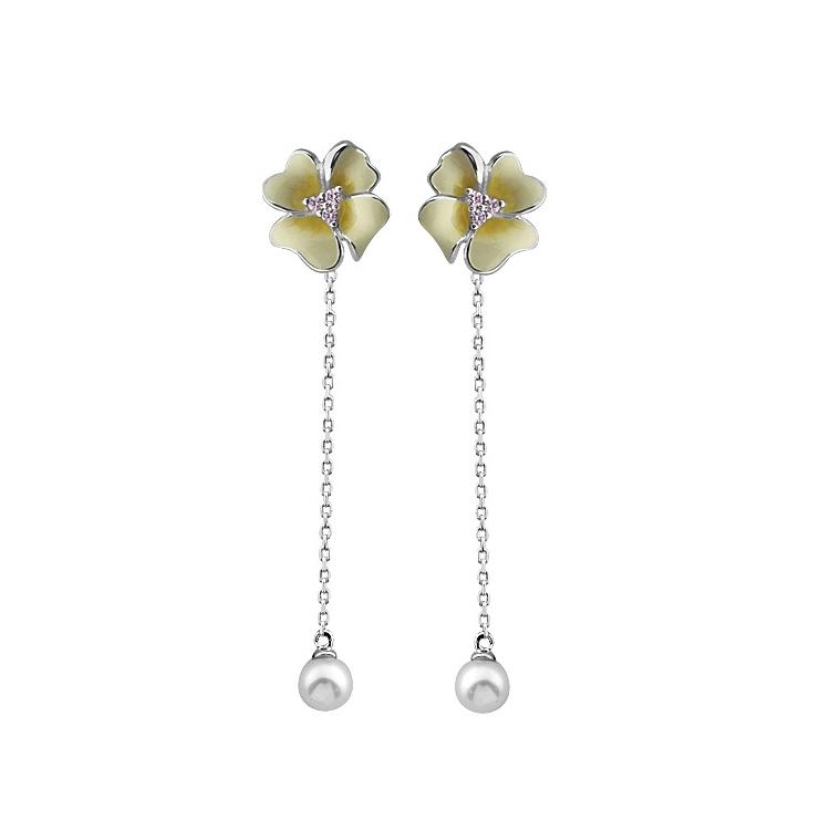 China, de alta calidad de moda color esmaltes gota de Plata de Ley 925 pendientes flor Lila joyería
