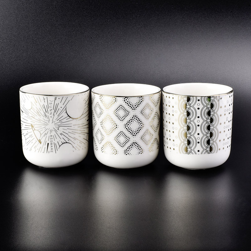 Venta al por mayor elegante perfumada de vela de cerámica vaso en frascos a granel