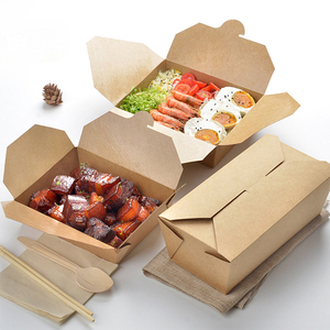 Tamaño personalizado impermeable desechable plegable para llevar caja de almuerzo de papel contenedor de alimentos