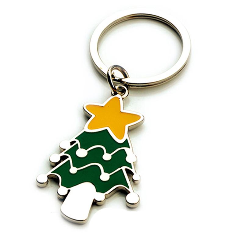 Fábrica de fundición de <span class=keywords><strong>aleación</strong></span> de Zinc <span class=keywords><strong>llave</strong></span> anillos árbol de <span class=keywords><strong>Navidad</strong></span> en forma de etiqueta clave