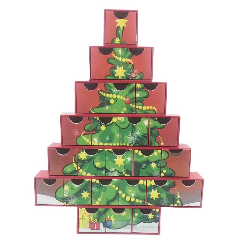 Conception spéciale de Forme D'arbre De Noël Calendrier De L'avent De Noël Boîte De Cadeau De Noël