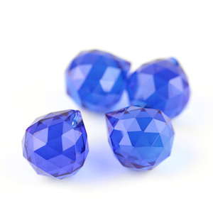 Pretty 15mm Partes Lustre de Cristal de Vidro Facetado Bola Barato Cor Azul Escuro Para O Corte Ou a Decoração Home