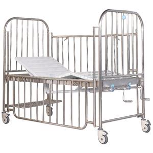 Ajustable durable pediátrica cama marco de acero inoxidable hospital 2 Función de cama de niño para atención médica