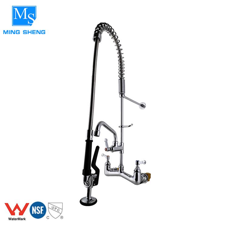 Yüksek basınçlı ticari duvara monte ön yıkama paslanmaz çelik bahar aşağı çekin mutfak musluk
