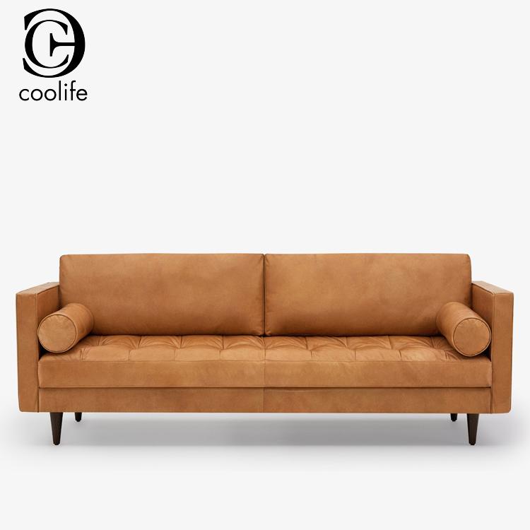 Moderna in pelle di struzzo divano set mobili soggiorno in colore marrone