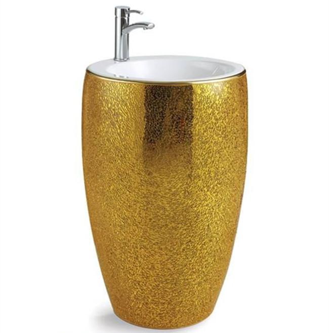 De vidrio plateado sanitarios grande redondo pedestal lavabo
