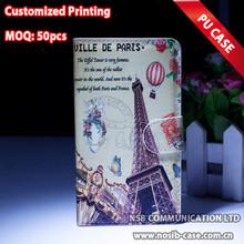 Venta caliente Múltiples colores Funda de cuero París Torre PU para el caso del teléfono móvil de carpeta