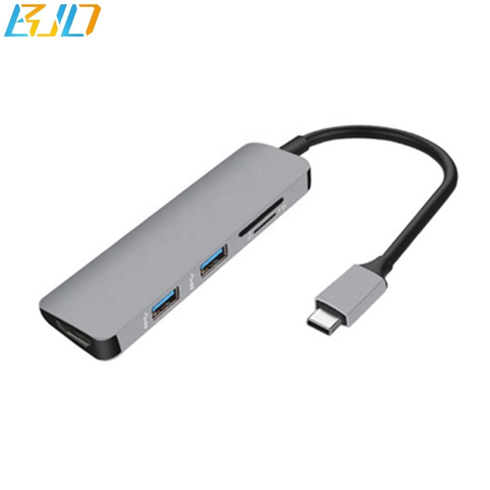 USB C مهايئ توزيع التجارة ضمان 5 in1 نوع C مهايئ توزيع مع 4 KHDMI (3840x2160 @ 60 هرتز) ميناء 2 USB 3.0 الموانئ SD و مايكرو