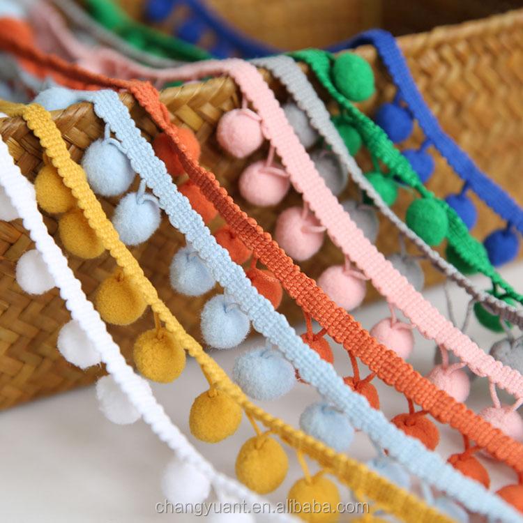 Оптовая продажа 10 мм Красочные DIY sewiing шар-помпон оплетка кружевная бейка для одежды аксессуары