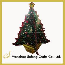 Verde del árbol de navidad en centro de mesa decoración, 3d papel del arte