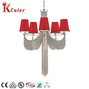 تشونغشان مصنع الفاخرة نمط الفضة تصفيح سلسلة الأحمر النسيج الظل غرفة المعيشة قلادة ضوء الثريا