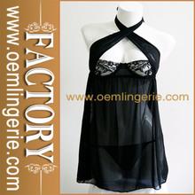Nueva llegada sexy halter negro sexy ropa interior de encaje