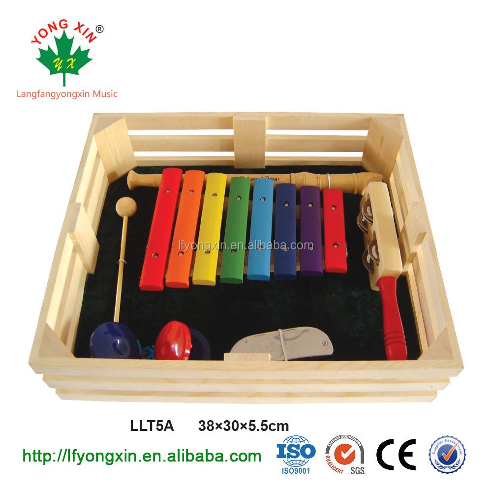 Bán buôn bé nhạc cụ bằng gỗ bộ gõ set/xylophone/cstanet/leng keng thanh