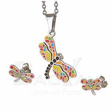 libélula multicolor de joyas de acero inoxidable plateado