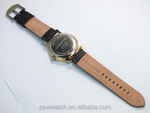 genuine leather IP gold bulk buy mens wrist watch