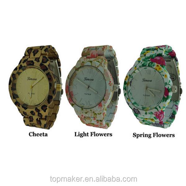 Teenage Fashion Geneva Print Spring Flower Womens Vogue Watch