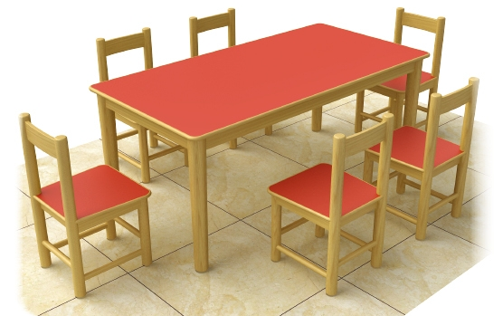 Fire Proof Wood Preschool Chairs And Tables 6 Seats Wooden Children Furnitur