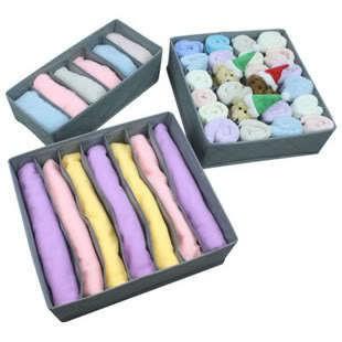 3шт = 1комплект, Бамбук Уголь волокна складная шкаф организаторы ящик для хранения белье, бюстгальтер, галстук, 3 цвета