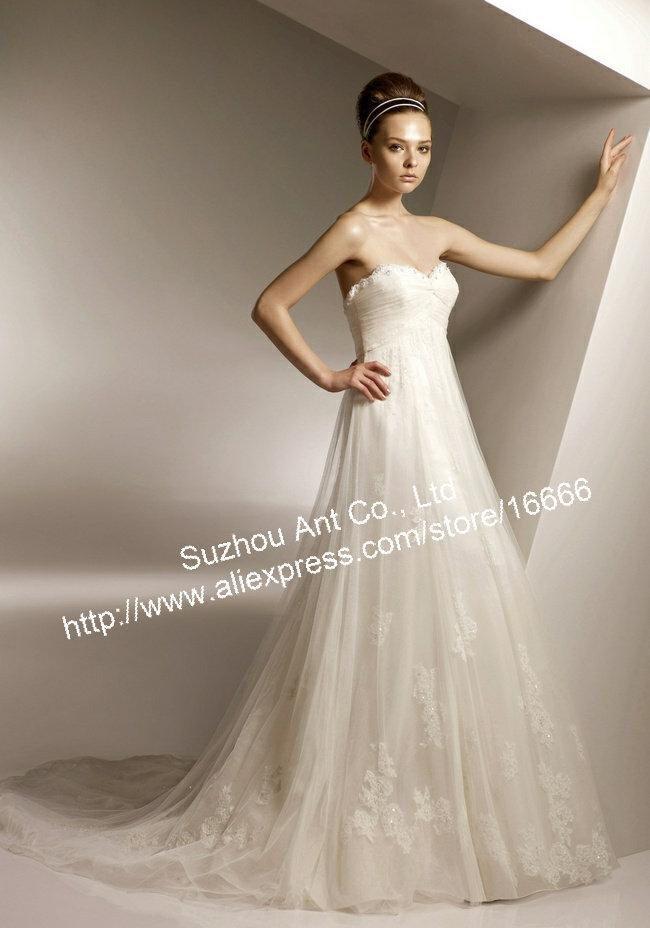Elegant off shoulder sweetheart bowknot back ivory empire for Ivory empire waist wedding dress