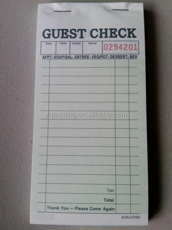 restaurant guest check template .