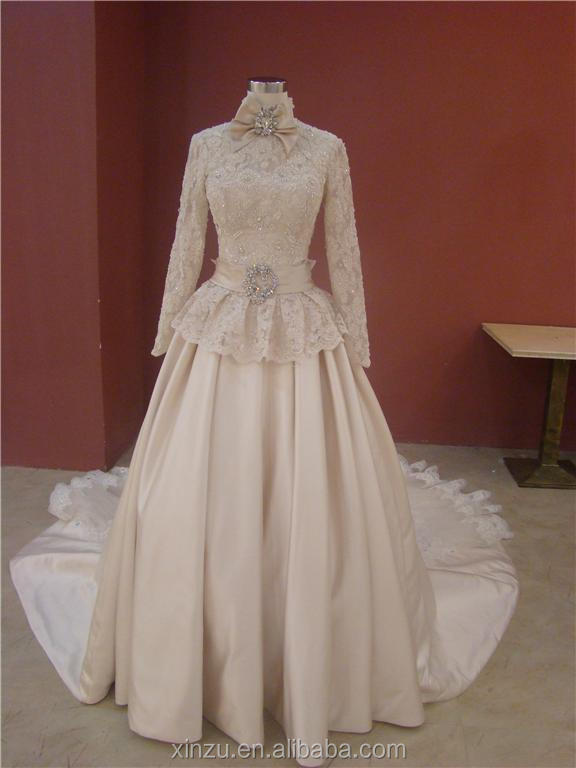 2014 new real champagne colored high neck long sleeves for Champagne colored wedding dresses with sleeves