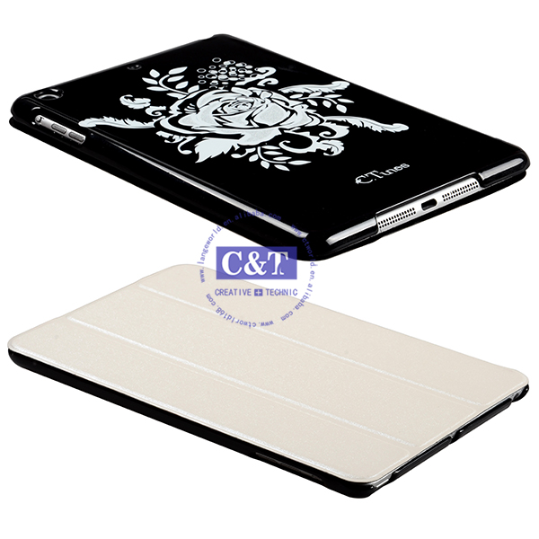2014 Charming hot selling design for ipad mini book type leather case