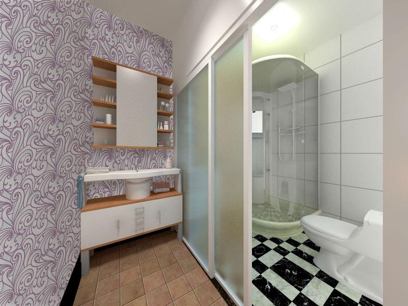 modern design purple waterproof wallpaper for bathroom