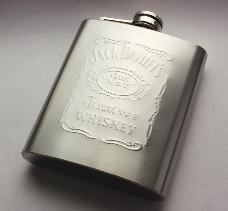 Джек Дэниэлс фляга 7 унций набор портативный из нержавеющей стали Ендова вина бутылку подарок коробки карман колбу российских ендова, рельефные изображения