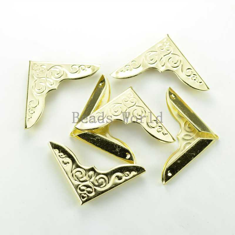 Wholesale !100 Gold Plated Carving Book Scrapbooking Album Folder Corner Protectors 32x23mm Free Shipping (W03452 X 1)