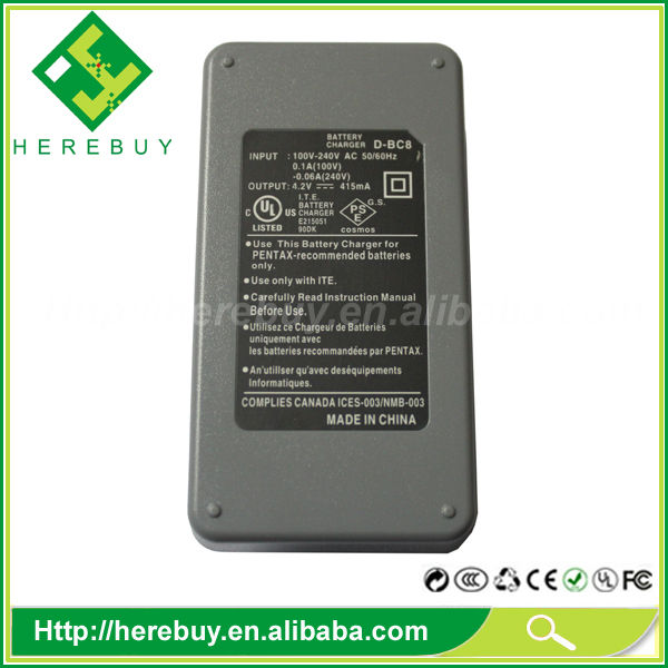 Wholesale supplier Li-ion Battery Charger for Pentax D-BC8 BC8 D-LI8 Battery charger