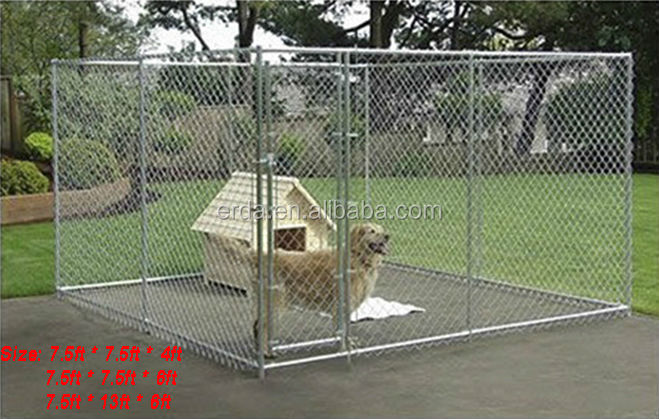 Large Cheap Galvanized Chain Link Fence Pet Cage Dog Kennel