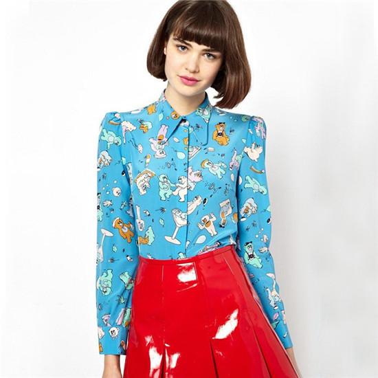 Новая женская мода милый медведь мультфильм печати синий chiffion Блузки с длинным рукавом ol стильные девушки рубашки случайные тонкий бренд дизайнер