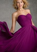 бордовый длинные невесты платья выпускного вечера платья без бретелек Милая шифон спинки женщин