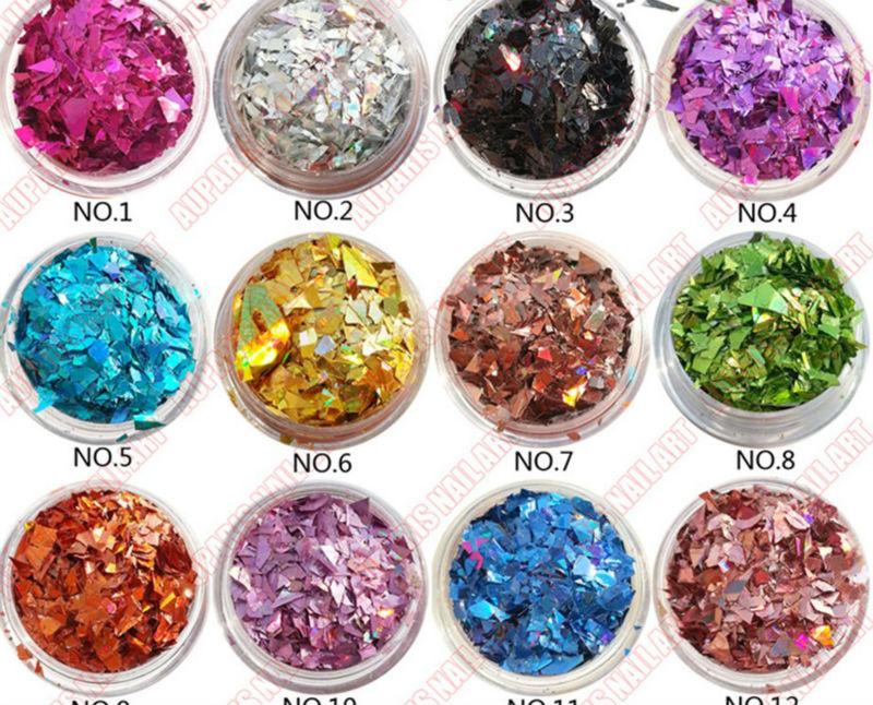 Hexagonal Star Heart Flower Glitter Flakes Nail Art Decorations For ...