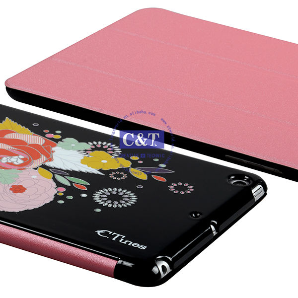 2014 whole sell leather stand smart cover case for ipad mini 2