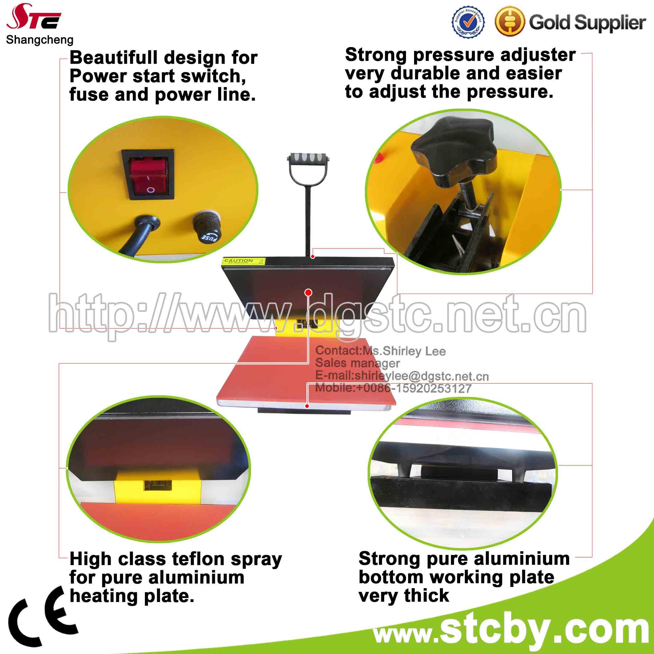 CE flat simple heat press machine t-shirt heat presses heat transfer machine