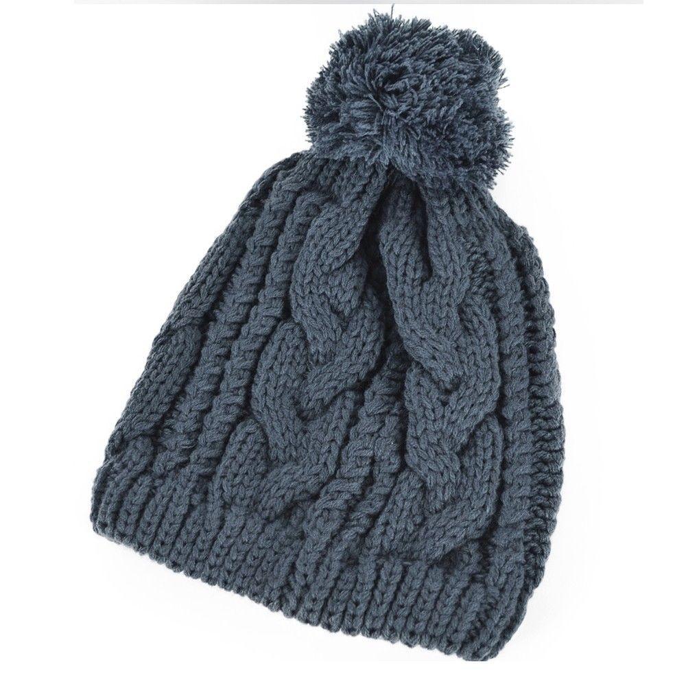 1afd469432e Wholesale Men Cable Knit Beanie Women CHUNKY Crochet Pom Ski Hat ...