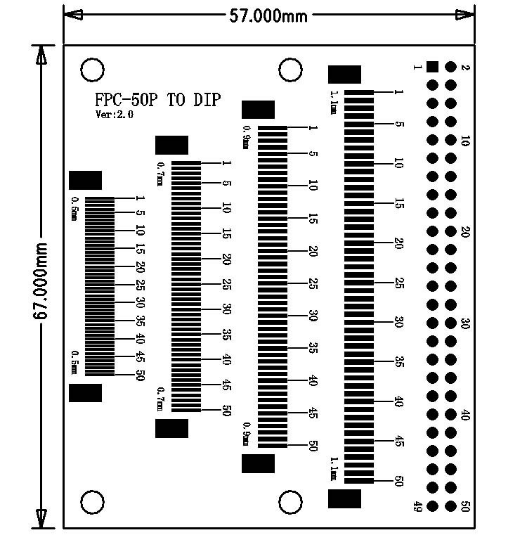 ФСГ/fpc больше интервал 50p плоский кабель разъем Монтажнаяпланка 0,5 0,6 0,7 0,8 0,9 1,0 1,2 dip tft lcd многофункциональный