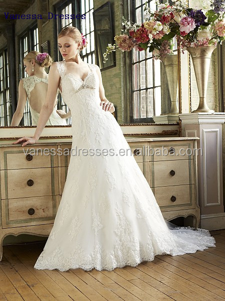 queen anne build up with keyhole back empire waist wedding dress