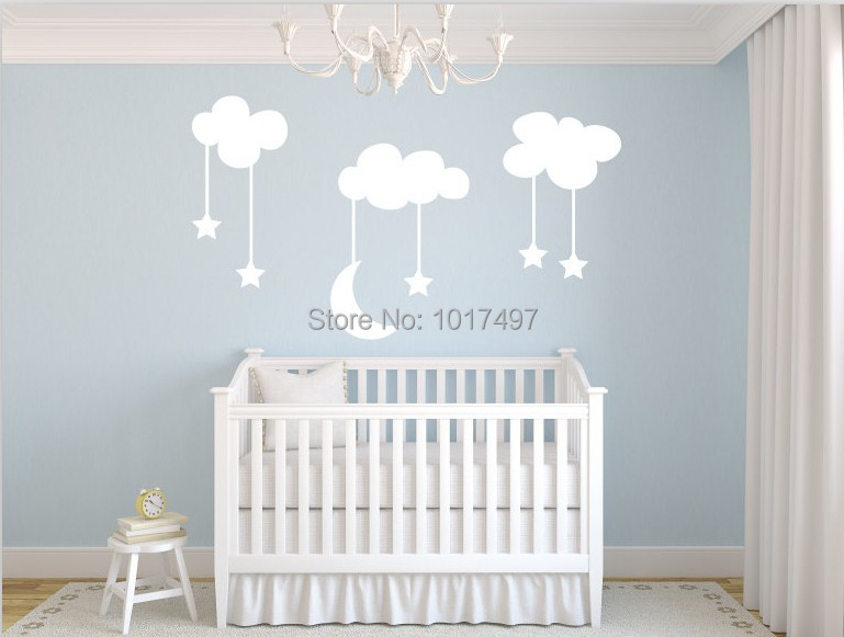 Decal Skin Moon Stars Baby Nursery Vinyl Wall Stickers Large 220 140cm White Sky Blue Clouds Room Decor Decals Adhesive