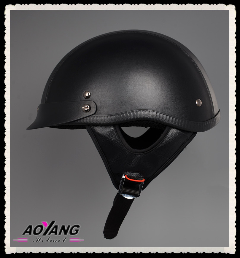 Christmas Hot Sale DOT Leather Half Face Helmet