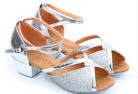 EUR 25-40 детей дети мягкая подошва Латинской танцевальной обуви серебро золото бального танго сальса танцы обувь для девочек