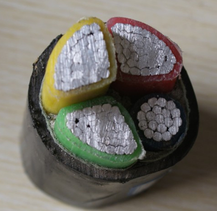 4 core 8mm 8.5/15kv XLPE Insulator PVC sheathed steel electrical burial power cable