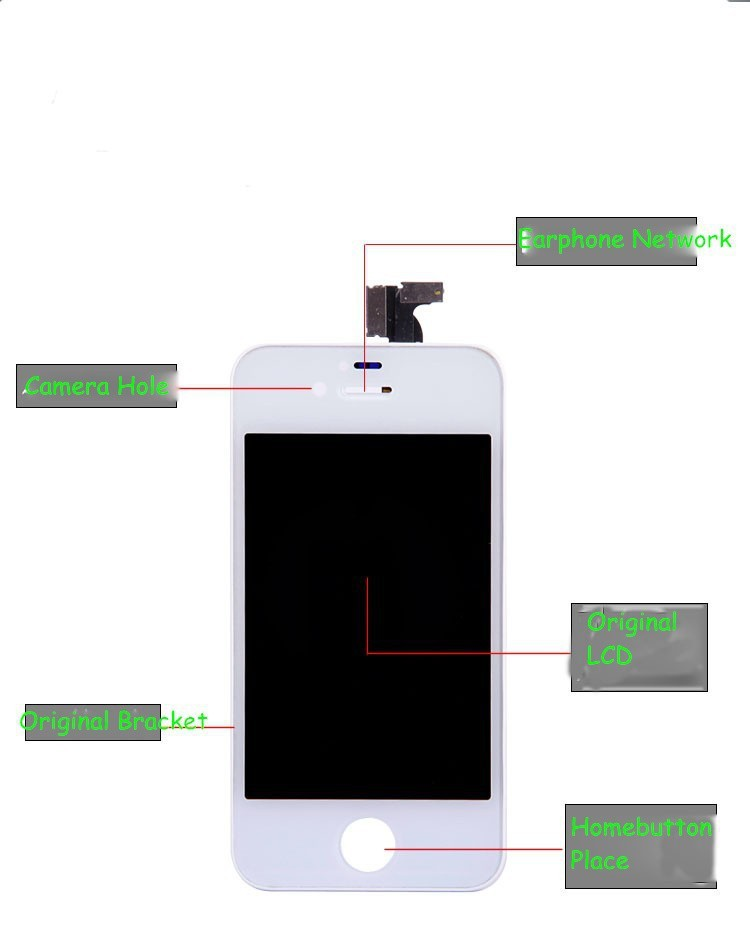 ЖК-дисплей для мобильных телефонов None 1piece LCD iPhone 4 4S + + + + , 100%